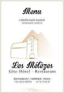 Menu Restaurant Les Mélèzes